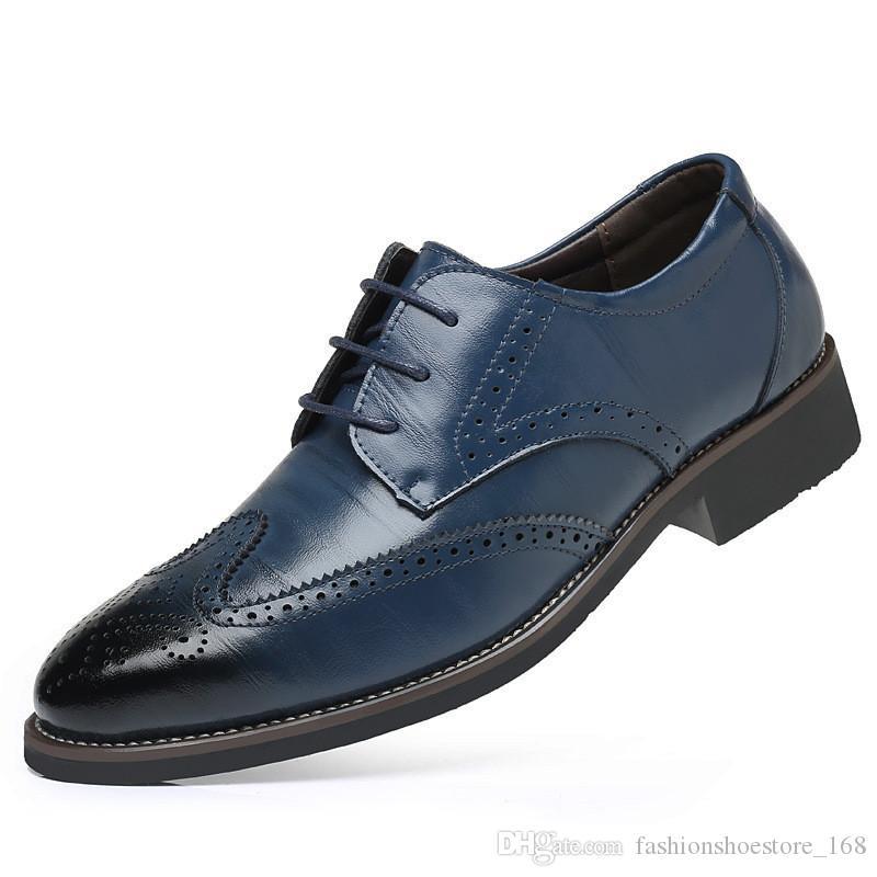 daa94a4476 Compre Tamanho 38 48 Marca Brogue Esculpido Homens De Couro Genuíno Whole  Cut Oxford Sapatos Clássicos Lace Up Wedding Party Man Marrom Vestido  Sapatos De ...