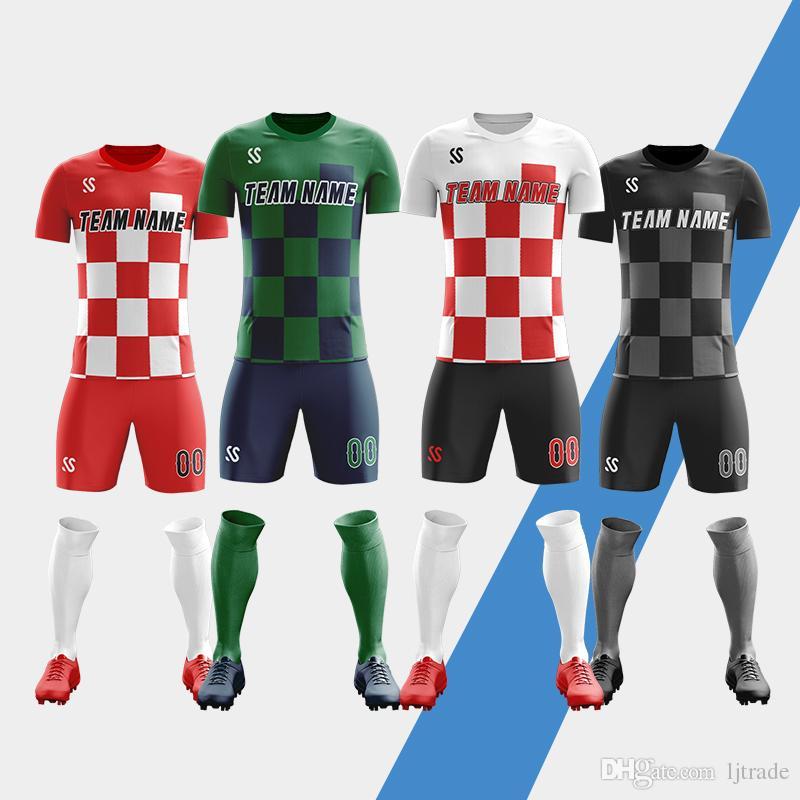 40a70628e 2019 18/19 Blank Soccer Jersey & Shorts Adults & Children Jerseys Football  Uniform Soccer Training Suit Running Sportswear Customized From Ljtrade, ...