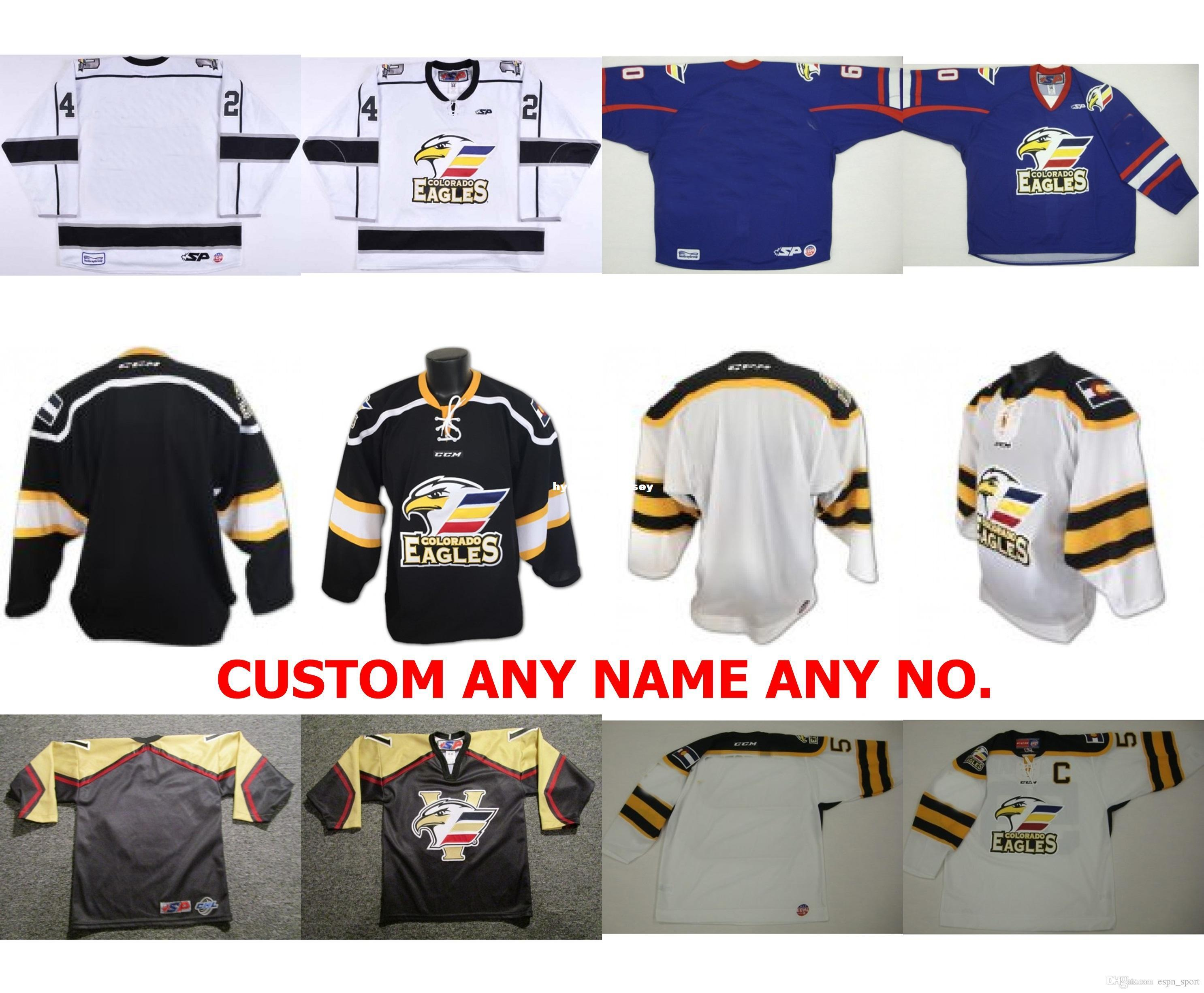 dc5aa0a62 2018 Custom Wholesale Mens Womens Kids Customize ECHL Colorado Eagles Black  White Blue Sport Jersey 100% Embroidery Cheap Hockey Jerseys From ...