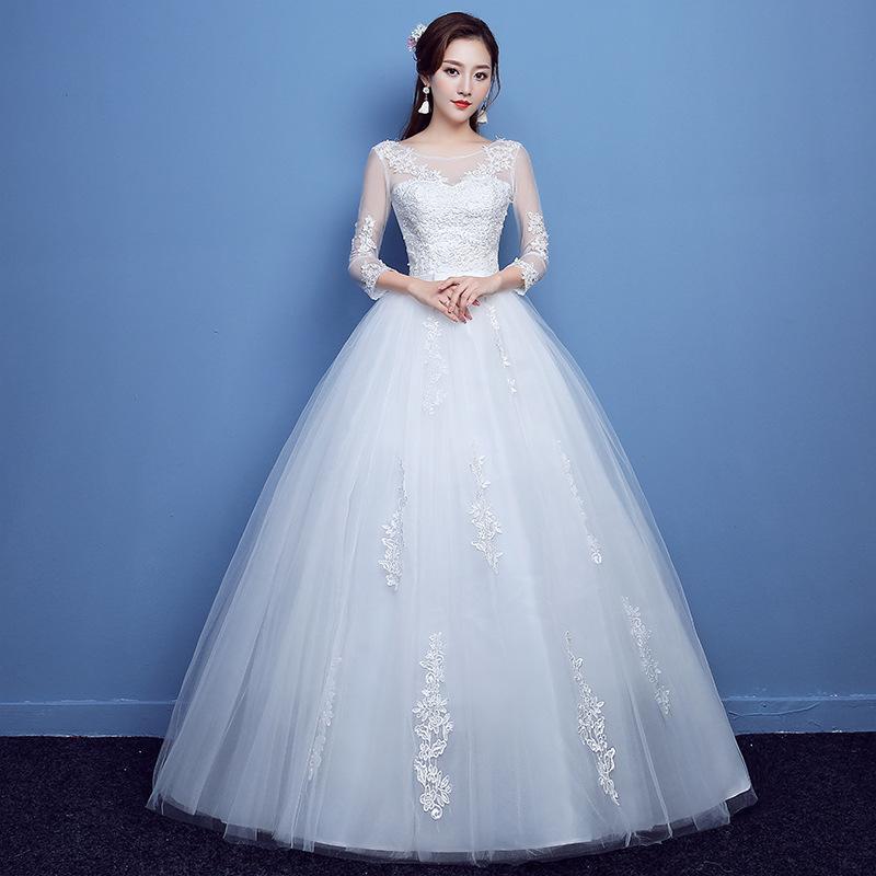 Vestido De Novia Cheap Wedding Gowns 2018 Wedding Dresses Ivory Plus Size  Scoop Appliques Lace Up Wholesale Ball Gown New