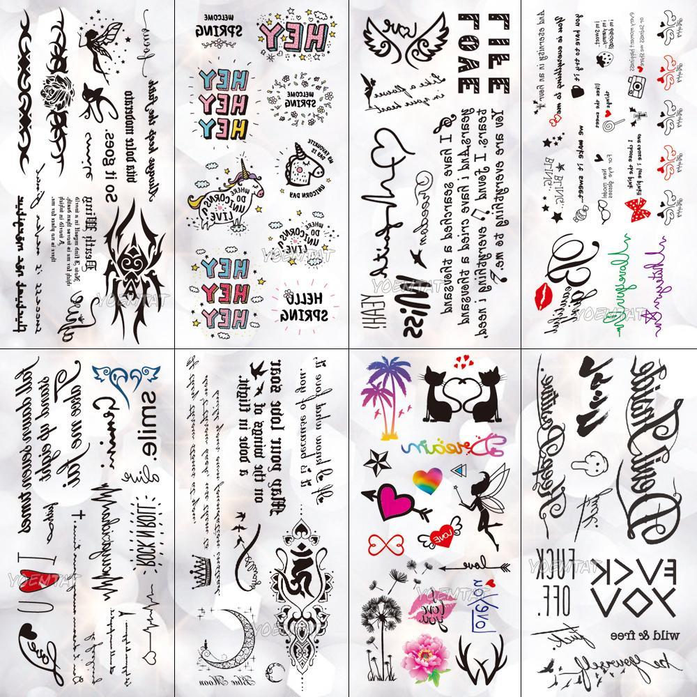 cb448c3b1 Cute Little English Letters Waterproof Temporary Tattoo Sticker Small  Animals Flash Tattoos Body Art Fake Arm Tatoo Women Ladies Back Tattoos  Large ...