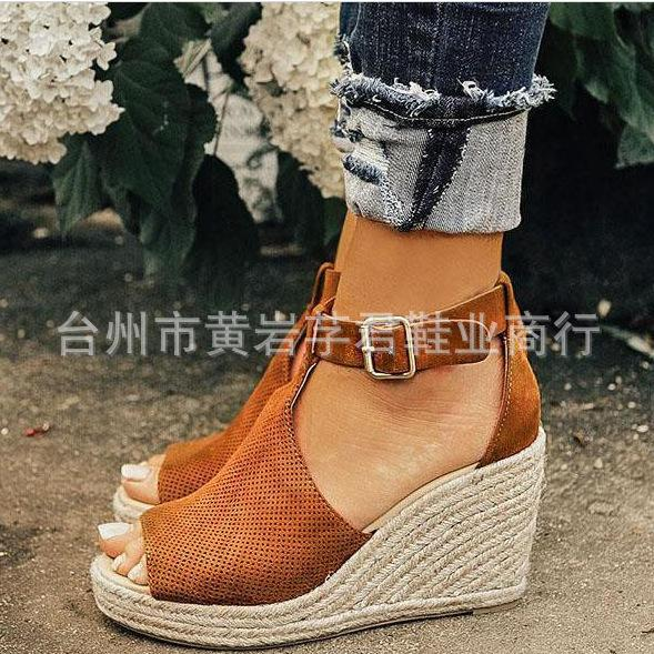 c720055bb 2019 Wish Foreign Trade New Waterproof Platform High Heel Large Size Womens  Shoes Sandals Straw Slope Heel Cave Sandals Spot Women Kids Boots Men Boots  From ...