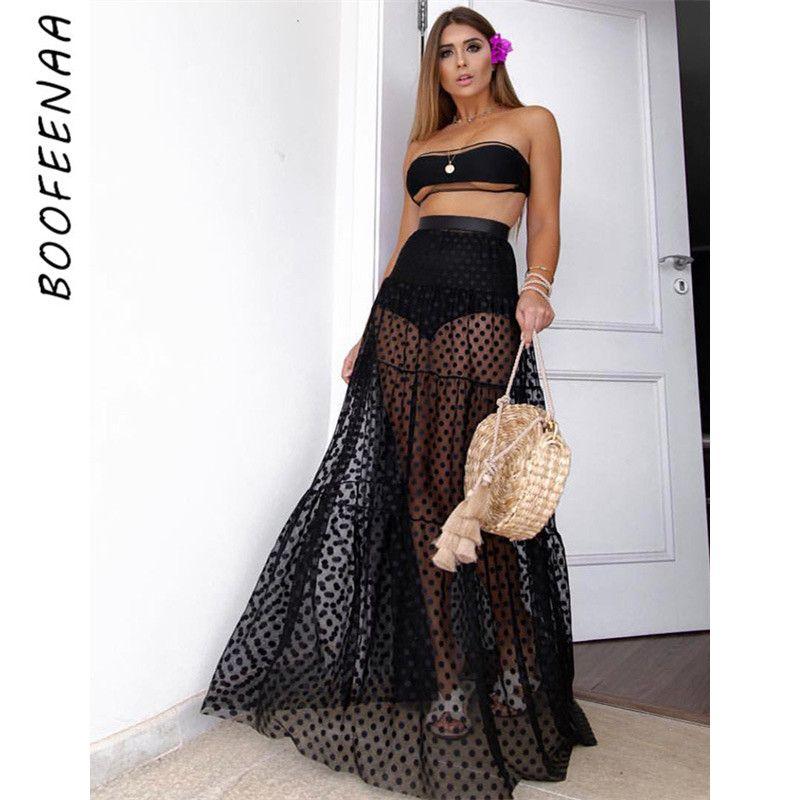 f815ede2c5 BOOFEENAA Sexy Polka Dot Mesh Long Skirt Black Beach Boho Transparent High  Waist Pleated Maxi Skirts Womens Summer 2019 C76-AD68