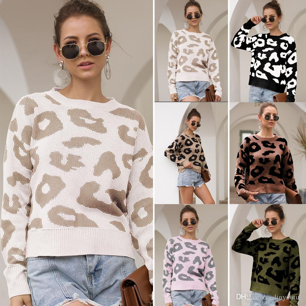 women sweater Leopard lady Sweaters Women Autumn Winter Pullovers Jumpers Female Knitted Loose Warm Printed Sweaters