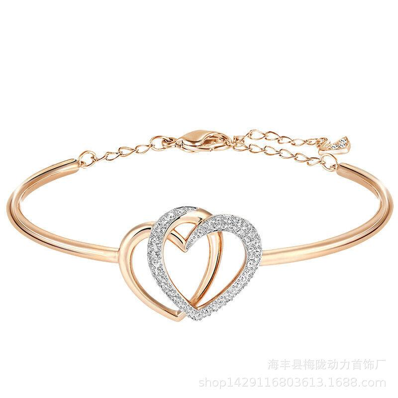 European and American trend fashion double heart bracelet hearts bracelet inlaid Valentine's Day gift