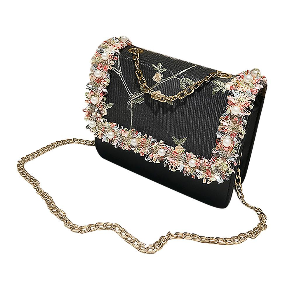 c0c5dfebb94 Shoulder Bag For Women 2019 Fashion Vintage Chain Leather Embroidery Floral  Bag Ladies Crossbody Bags Luxury Handbags mujee