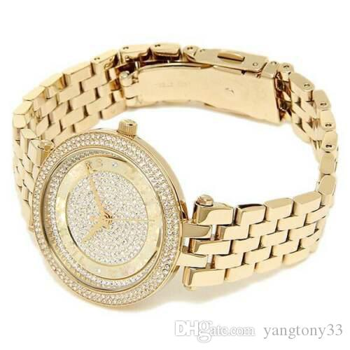 Brand New MK3445 Gold Mini Darci Crystal Pave Dial Wrist Watch for Women 100% ORIGINAL JAPAN MOVEMENT DROP SHIPPING
