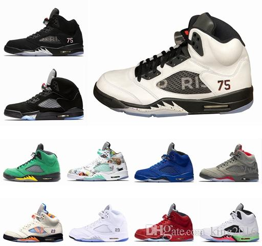 magasin d'usine 6133f 7f0a4 Chaussures de basket Jordan Air Retro 5 5s PSG X Paris Saint-Germain 75  Noir Blanc Rouge Bleu Suède International Flight OG Black Metallic Sport ...