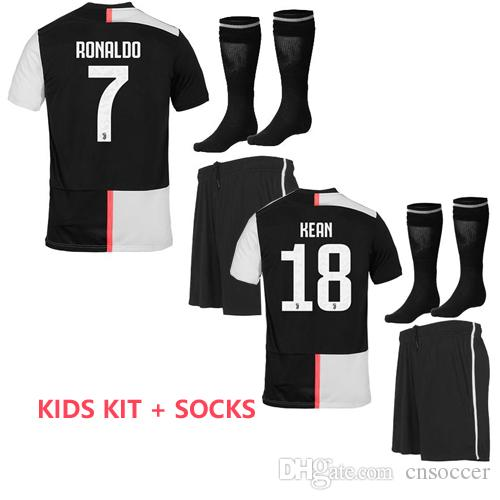 online store aa413 20ec1 19 20 Juventus soccer Jersey kids Kit WITH socks 2019 2020 RONALDO RAMSEY  DYBALA KEAN MANDZUKIC CHIELLINI boys football uniforms wholesale