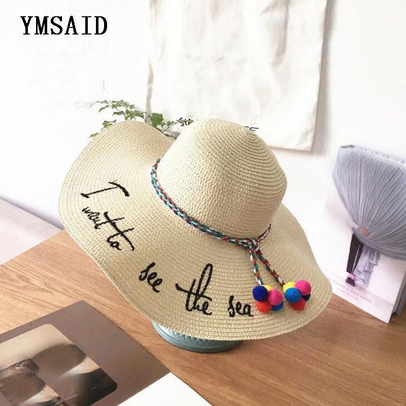 Ymsaid Brand 2018 Letter Embroidery Cap Big Brim Ladies Summer Straw ... e01bb103e140