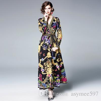 huge selection of 53ef5 cedc6 Vestiti lunghi da donna di New Ratro Fashion, abiti eleganti da primavera e  da sera, scollo a V sexy, gonne lunghe a contrasto
