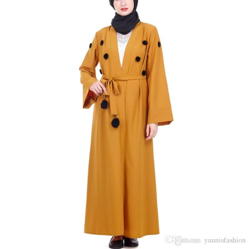 ee1ce48d99a YSMARKET Autumn Winter Clothing Dubai Abaya Dress With Belt Muslim ...