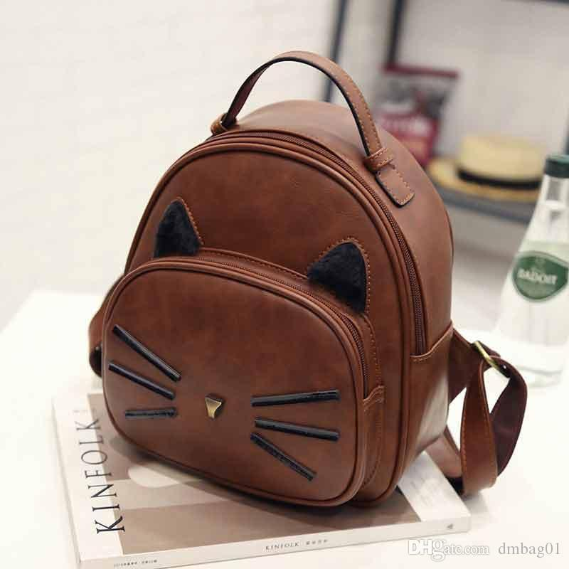 8d285f3cf5 Choose Cute Anime Cat Fashion School Bags Pu Leather Backpacks Designer  Mini Backpack Shouler Bag For Travel And School Bookbags Backpack Purse  From ...