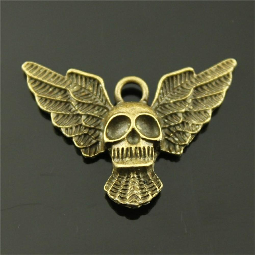 50pcs Skull Wings Pendant Charms Wing Skull Charm For Jewelry Making Wholesale Jewelry Accessories Wings Skull Charms 34x26mm