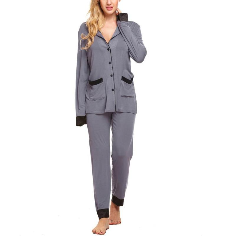 14f78a3bc 2019 Pajama Set Women Spring Autumn Pajamas Long Sleeve Button Down Shirt  Top And Long Pants Bottom Nightwear Female Homewear * From Blithenice, ...