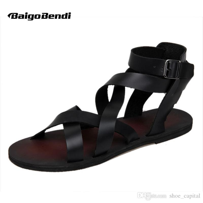18d8f159b49 New Summer Men Buckle Strap Beach Shoes Roman Gladiator Cross Tied Leather  Sandals  8304 Bridal Shoes Cheap Shoes From Shoe capital