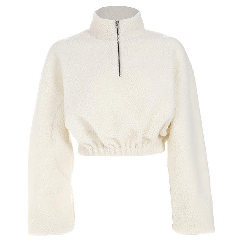 online retailer a50c5 b6bc7 2019 frauen Winter Pullover Sweatshirts Frauen Reißverschluss Übergroße  Hoodies Damen Weißer Rollkragenpullover Faux Lammwolle Crop Top hoodie