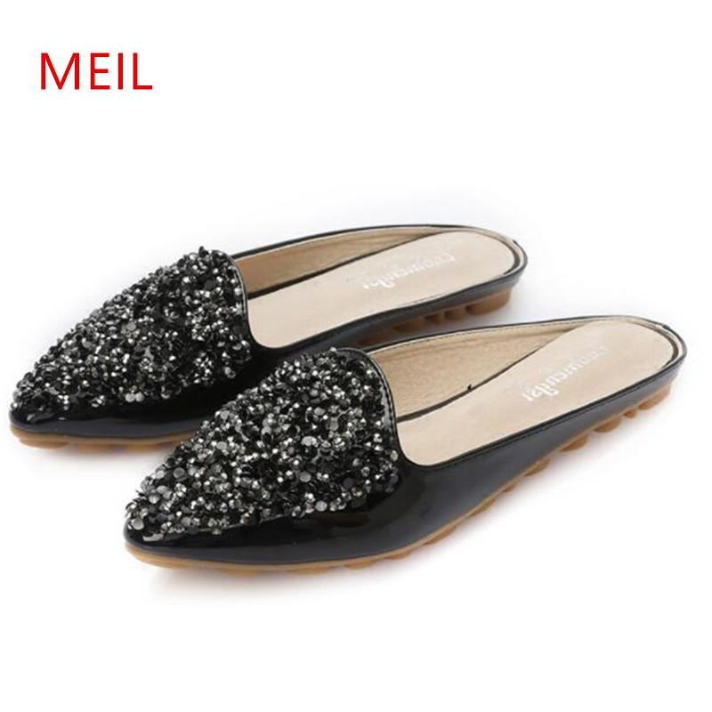 Size 43 Crystal Flat Slippers Women Pointed Toe Bling Rhinestone Mules  Shoes Women European Brand Design Slides Ladies Slippers Womens Slippers  Sheepskin ... ad728bfb291c