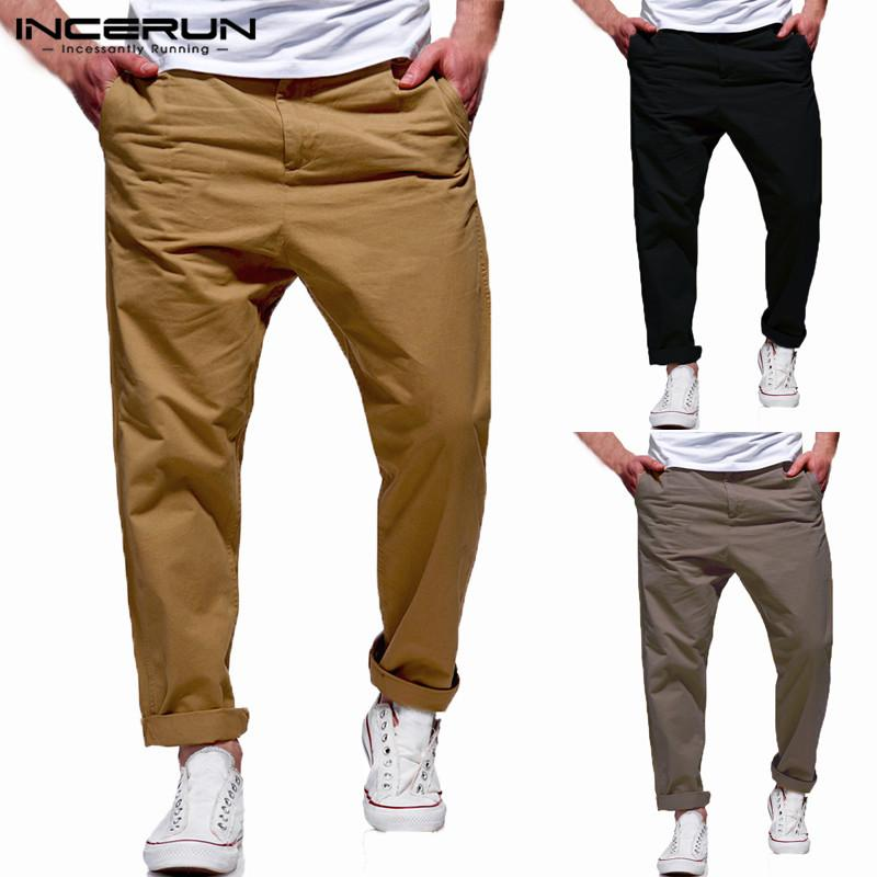 INCERUN Men's Pants Pockets Button Solid Loose Cotton Casual Trousers Men Joggers Fashion Men Business Pants Streetwear M-3XL