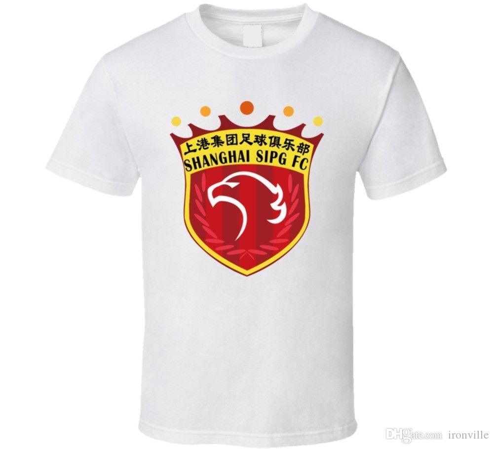 65a38dadaaa Shanghai Sipg F.C. Football Club Chinese Super League Soccer Team T Shirt  Pure Cotton Round Collar Men Cool Slim Fit Letter Printed Punk Discounted T  Shirts ...