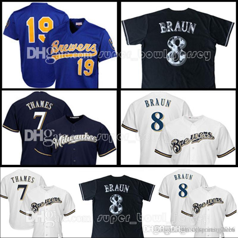 timeless design 70c62 40006 Men's Milwaukee 19 Robin Yount 8 Ryan Braun Jersey Brewers 7 Eric Thames  Baseball Jerseys Adult