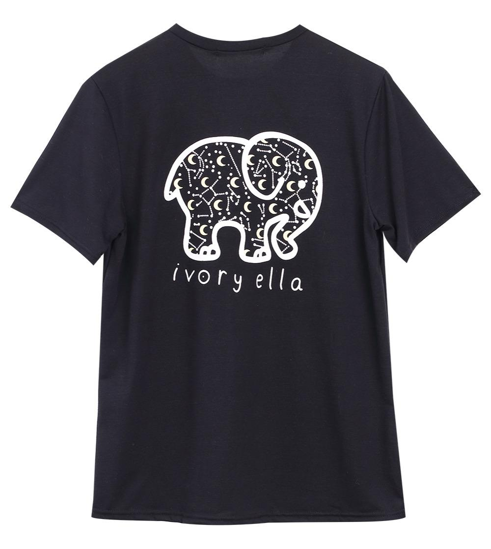 Senhoras Meninas Elephant impressão soltas Preto Verão Camiseta Tops Plus Size S M L XL
