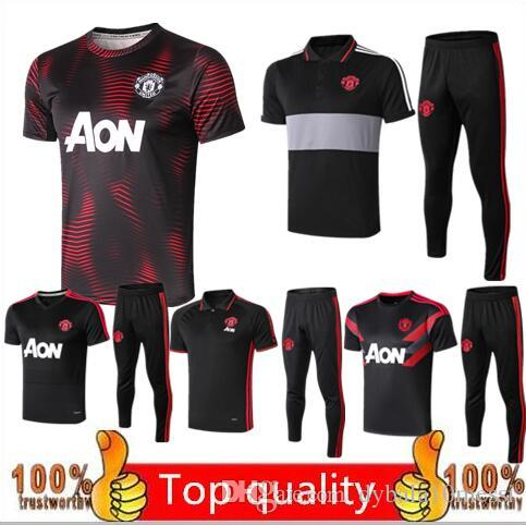 2019 2020 manchester Soccer training suit men football jerseys sportswear UNITED black foot shirts 2018 2019 2020 Polo shirt kit free shippi