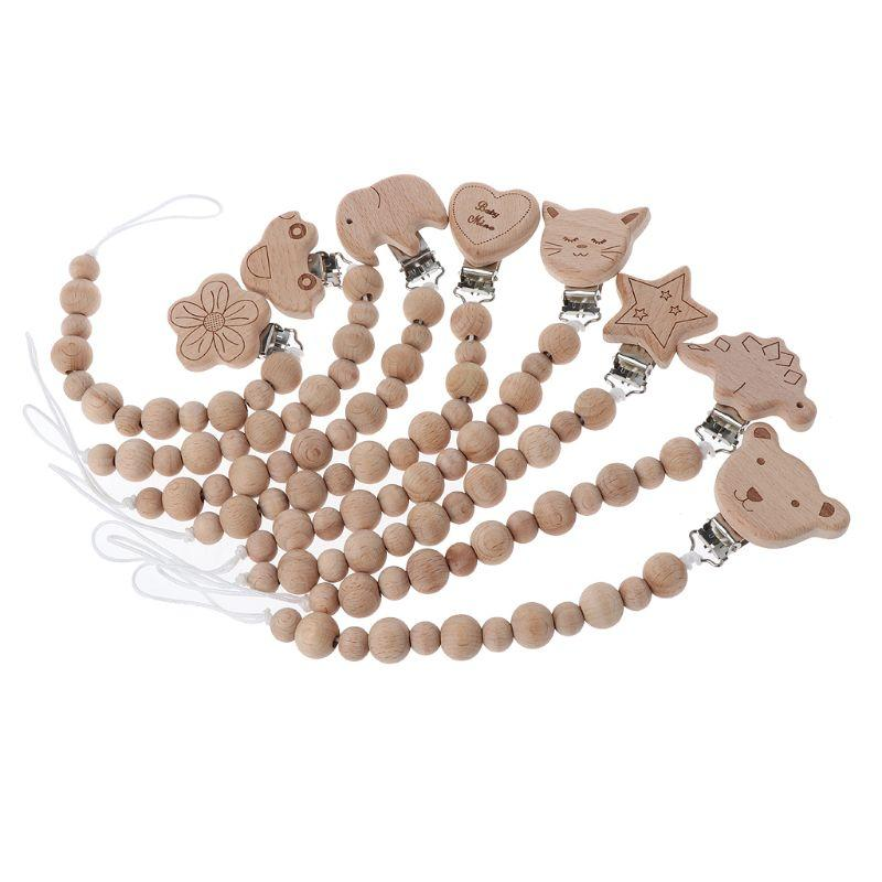5e5f7a94d9a51 8 couleurs bébé bois perlé sucette pince factice chaîne titulaire de  mamelon bébé sucette de dentition pour nourrisson alimentation