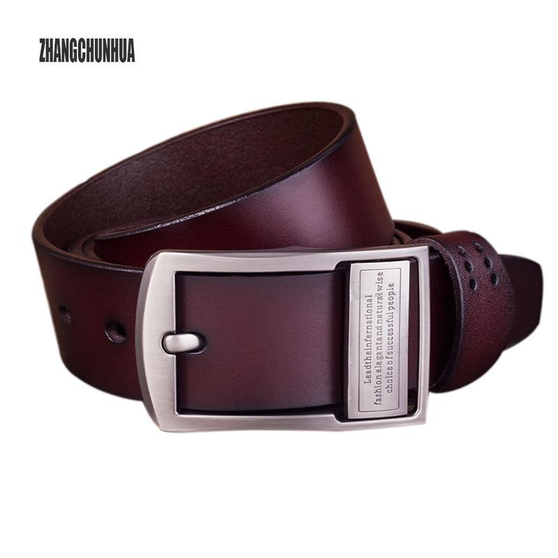a6187e7388d49 Ceinture en cuir vintage de style boucle ardillon ceintures en cuir  véritable pour hommes 125cm de haute qualité mens ceinture cinturones  hombre ...