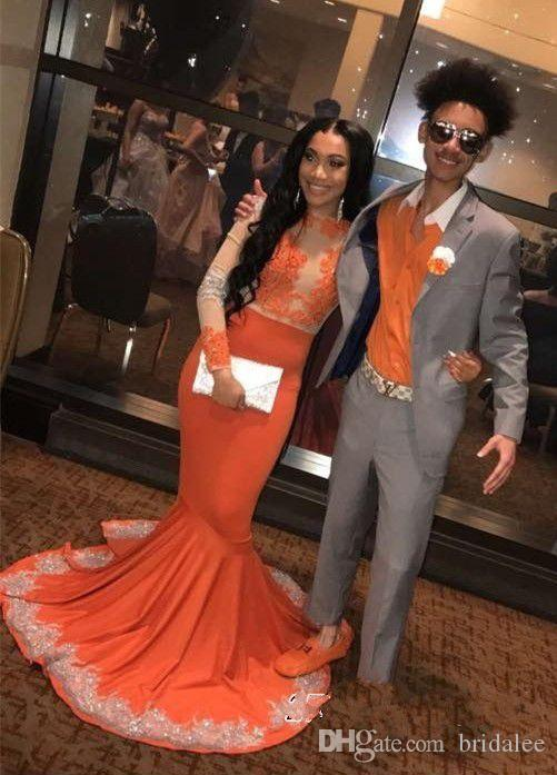 2019 Newest Orange Prom Dresses Long Sleeve Lace Applique