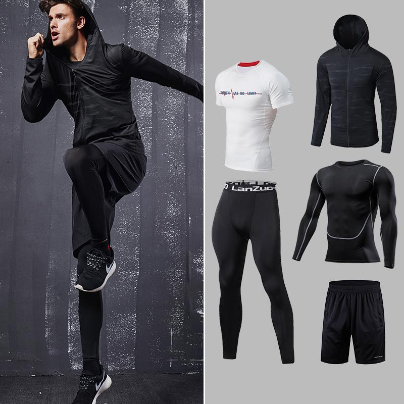 b91d196b0ab Men s Gym training Fitness sportswear Athletic physical workout Clothes  Suits Running jogging Sports clothing Tracksuit Dry Fit