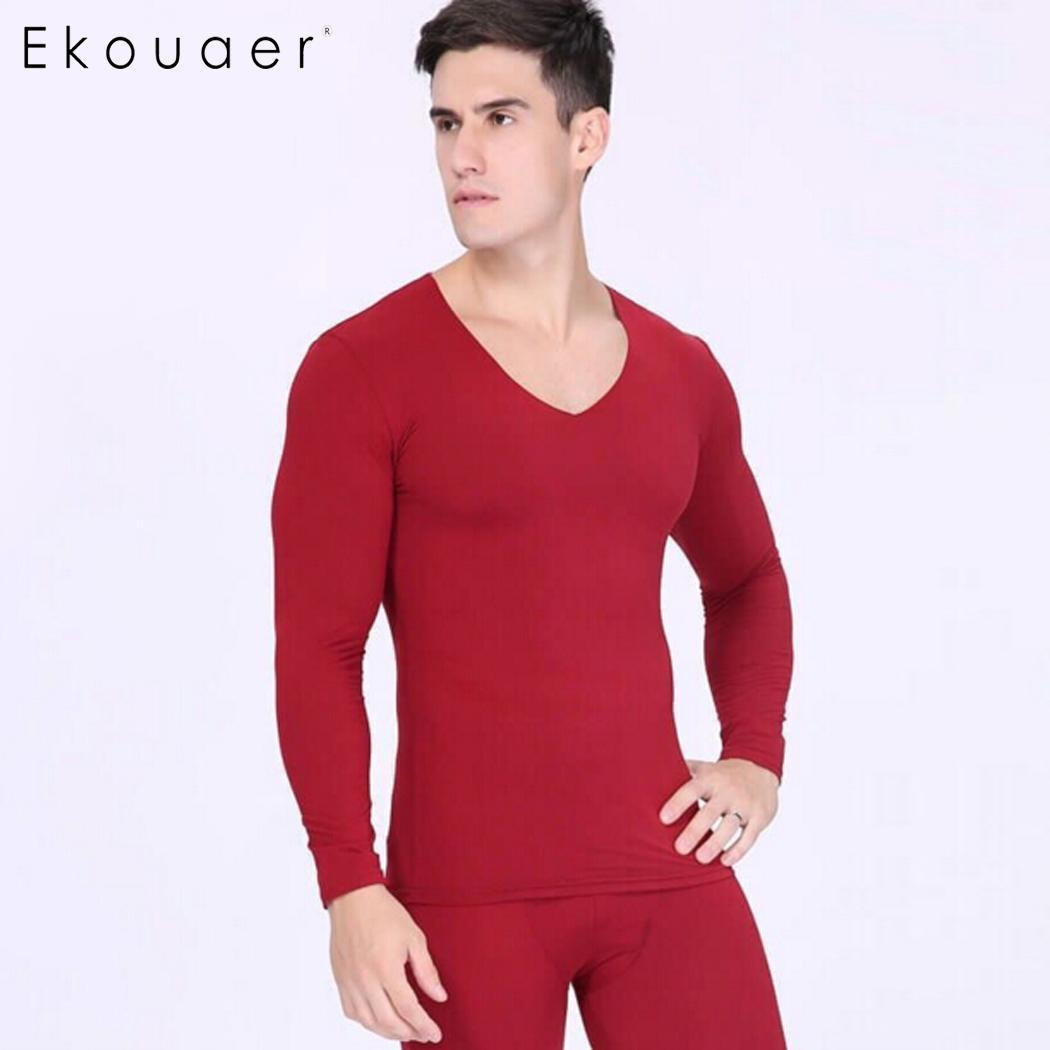 7ced360103e4 2019 Ekouaer Thermal Underwear Sleepwear Mens Long Johns Autumn Winter  Shirt And Pants Two Pieces Set Warm Slim Thermal Underwear From Baxianhua,  ...