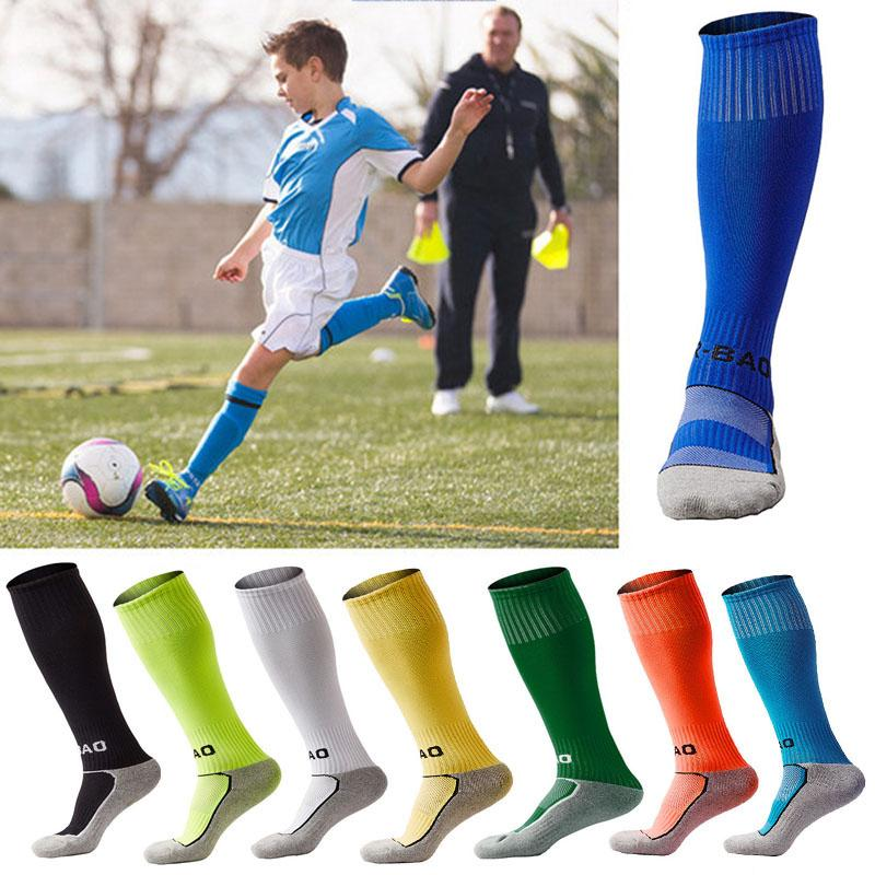 814c234354d 2019 Cotton Mens Kids Boys Sports Durable Long Soccer Socks Football  Breathable Anti Slip For 8 13 Years Old Child 10 Styles G496Q From Angel  Szu
