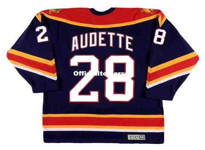Gewohnheit Mens DONALD AUDETTE Florida Panthers 2003 CCM Vintage Billig Retro Hockey Jersey