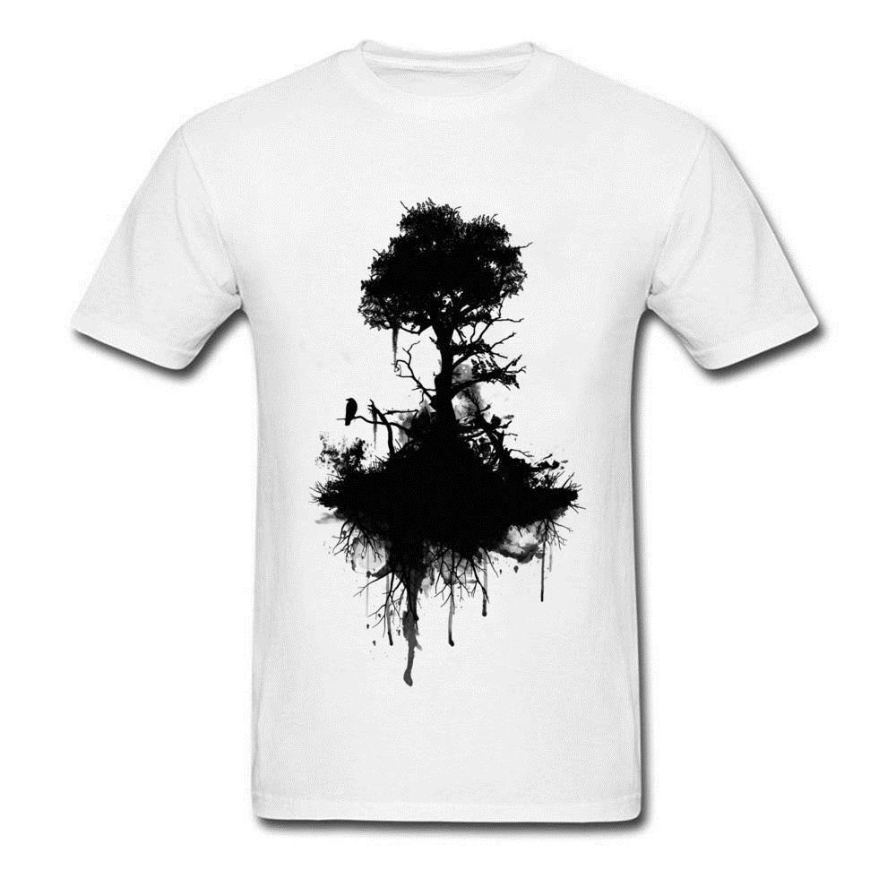 Custom Black Ink T Shirt For Men Death Raven Tree Standing Tshirt