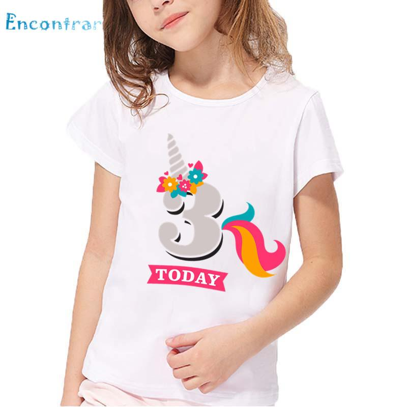 2019 Girls Birthday Unicorn Number 1 9 Print T Shirt Baby Funny Summer White Tops Kids Happy Present ShirtHKP2431 From Cynthia07