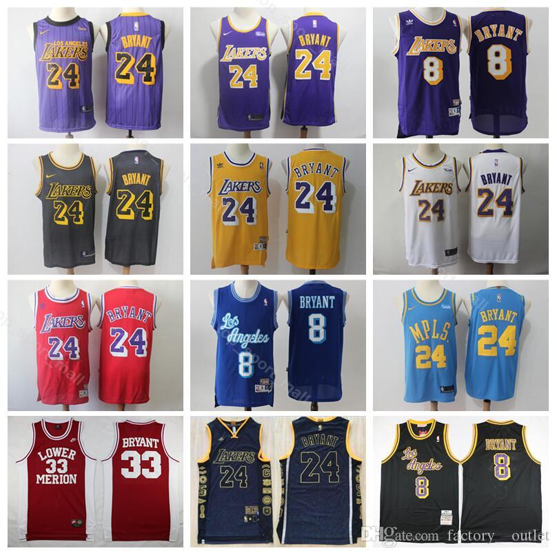 online store 657cc af245 Los Angeles Basketball Kobe Bryant Jersey 8 24 Edition City High School  Lower Merion Hightower Crenshaw Yellow Purple White Red Blue