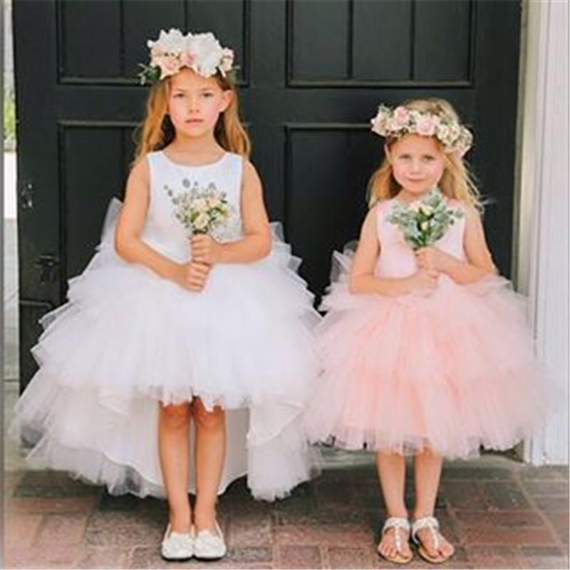Jewel Hi-lo Tulle Flower Girls Dresses vestidos de noiva Formal Girls Pageant Dresses Custom Made Gowns