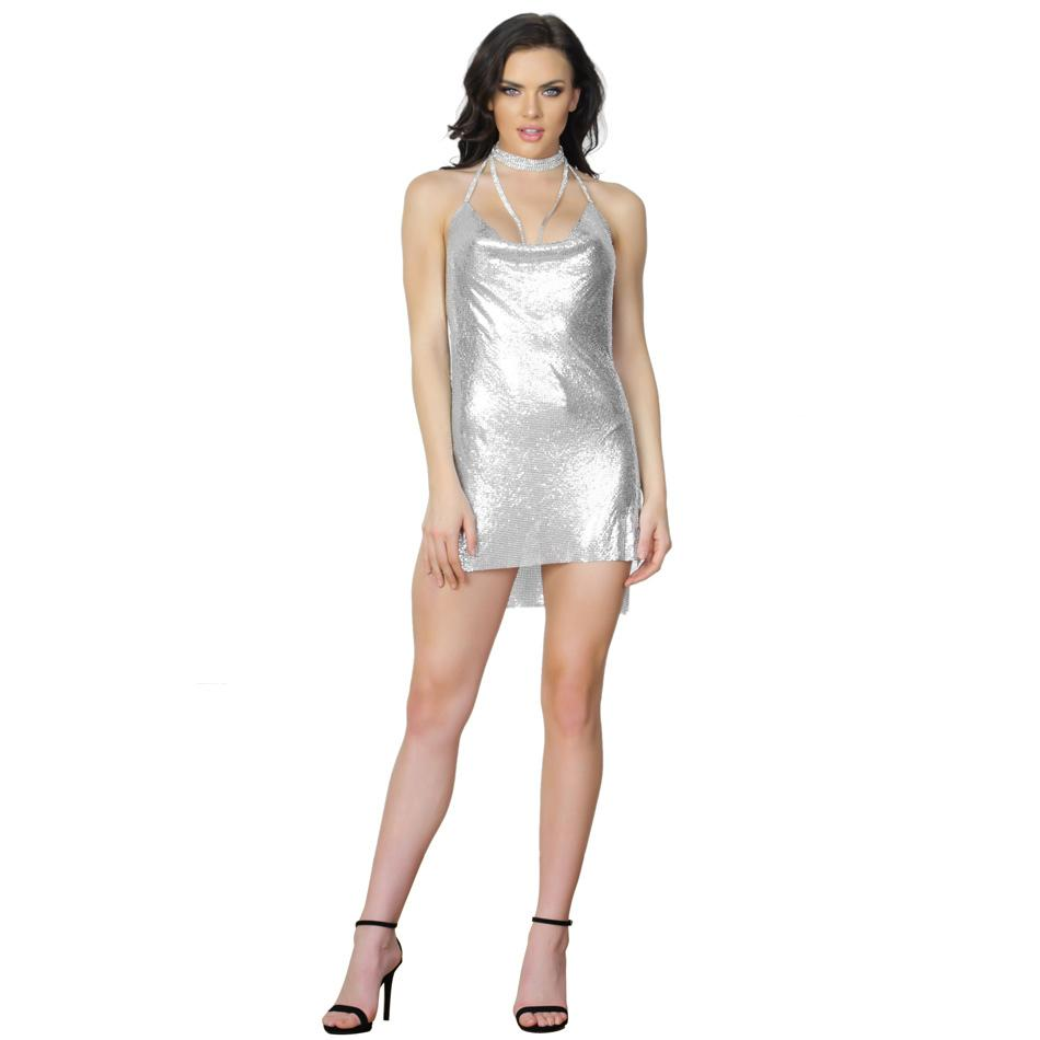 1704246678d 2019 S Curve Sexy Metal Backless Party Dress Glo Mesh Sleeveless Crystal  Chain Halter Nightclub Mini Dress From Lin 04