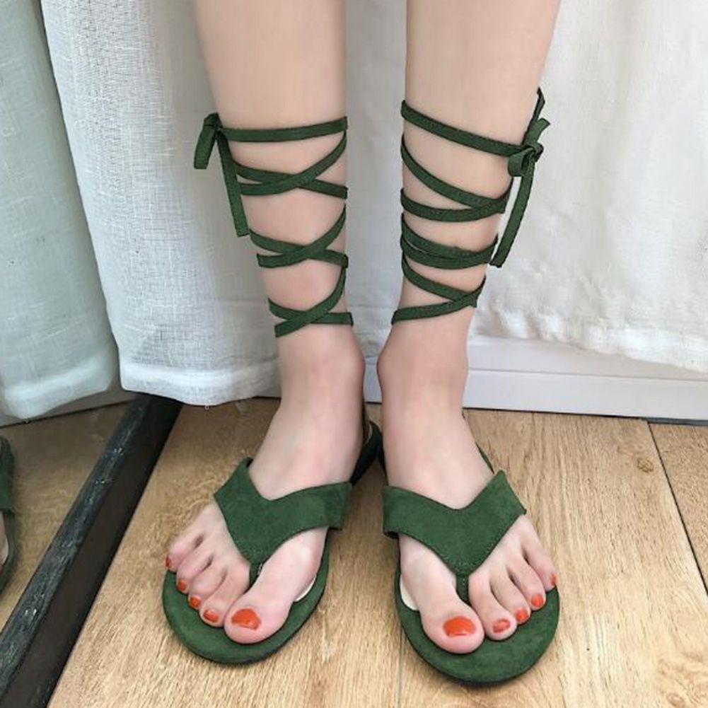 e05c538dc Women Fashion Summer Shoes Flip Flops Sandals Ankle Strap Gladiator Lace Up  Flat Women Sandalia Feminina Men Sandals Heeled Sandals From Aiyin