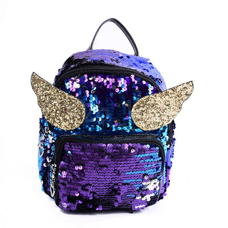 ea8a4edf517 Wings Shining Sequins Backpack Children Girls School Bag Shoulder Bag Women  Mini Travel Backpack Little Bag Rucksack MMA1362 30pcs