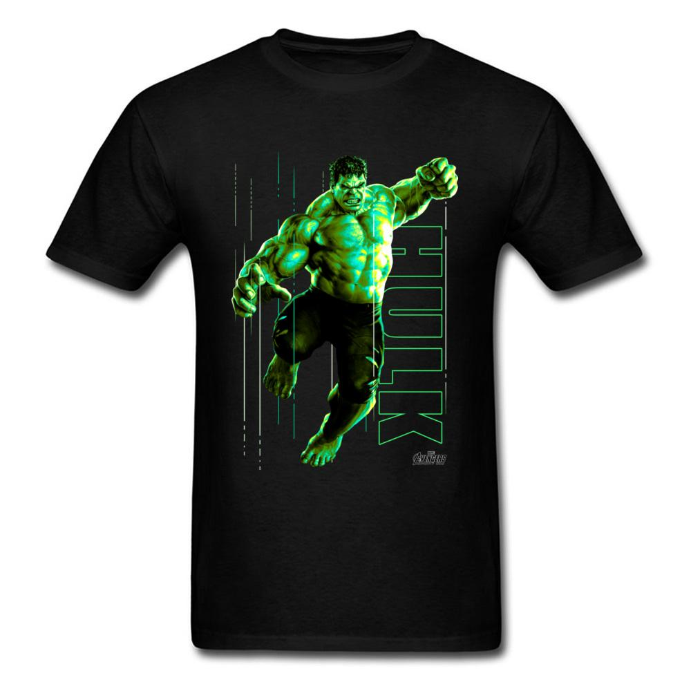 High Quality Tshirt Men T Shirts The Incredible Glow Hulk T-shirt Black Tops Tee Shirt 100% Cotton Superhero Clothes