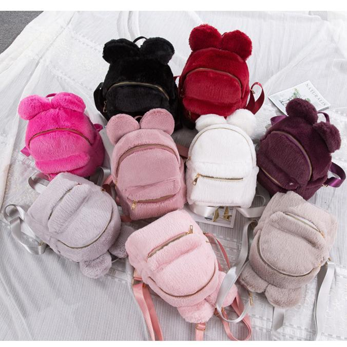 Women Plush Backpack for Teenage Girls Mini Cartoon Bear Ear Faux Fur Backpack for Female Shoulder Bag MMA1364