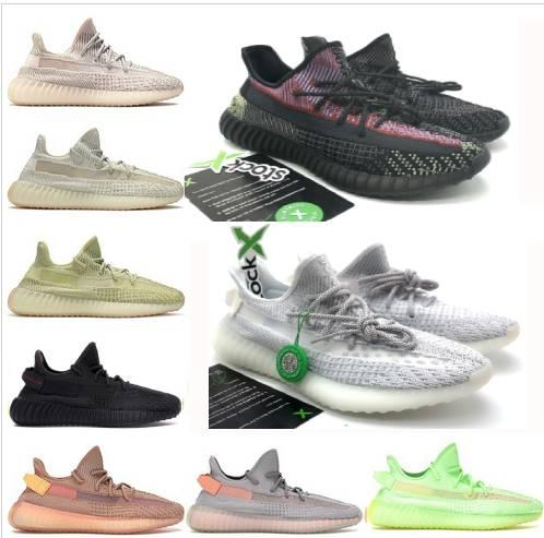 Kanye West v2 men women running shoes reflective triple black citrin zebra bred Trainer Static Clay Sesame Form Hyperspace sports Sneakers