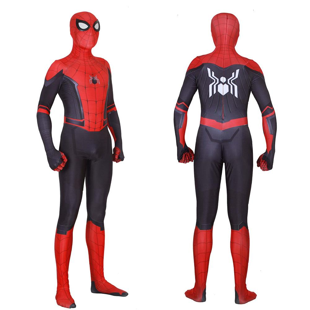 New Spider Man Far From Home Cosplay Costumes Peter Parker Zentai Bodysuit Spiderman enfants adultes superhéros balle JumpsuitsMX190921