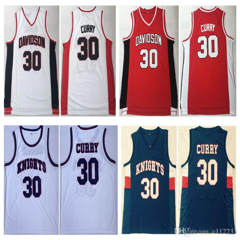 online store a0170 ffefe NCAA College Davidson Wildcats College Stephen 30# Curry Jersey Men  Basketball Charlotte Knights Curry High School Jerseys Red White Blue