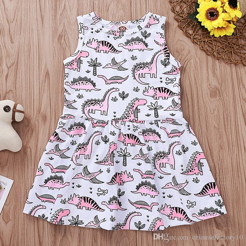 Baby Girl Dress Dinosaur Print Abito senza maniche Gilet Toddler Causal Beach Dress Nuovo 2 colori Estate
