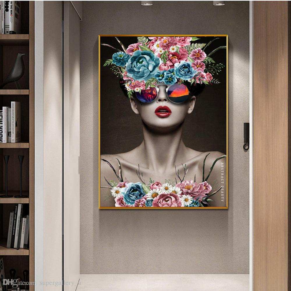 Modern Girl With Glass Flowers Home Wall Art Decor Handpainted &HD Print Oil Painting On Canvas Wall Art Canvas Pictures 190908