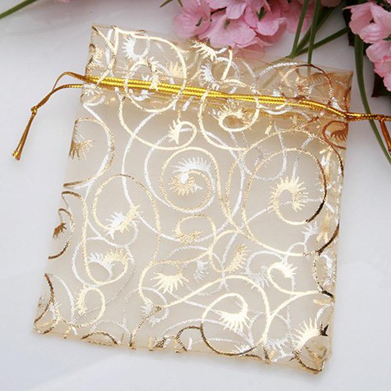 9x12cm Organza Bags Gold Coralline Custom Jewelry Tea Packaging Bags Organza Wedding Gift Bags Saquinho De Organza