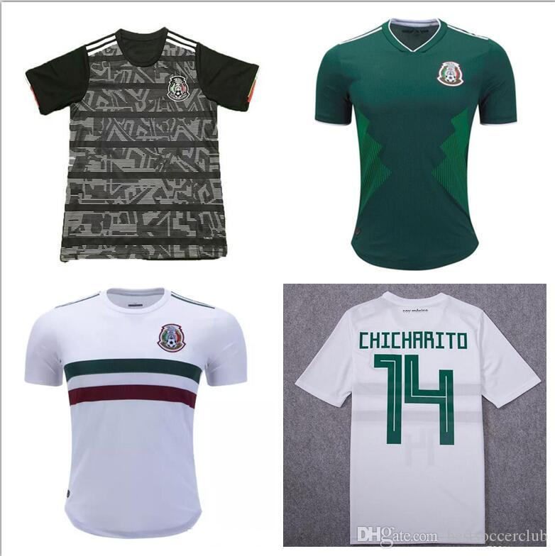 Copa do ouro preto 2019 México copa do mundo equipe nacional homens Jersey  18 19 México casa verde camisas de futebol longe branco camisas de futebol  ... 41170080f00c8